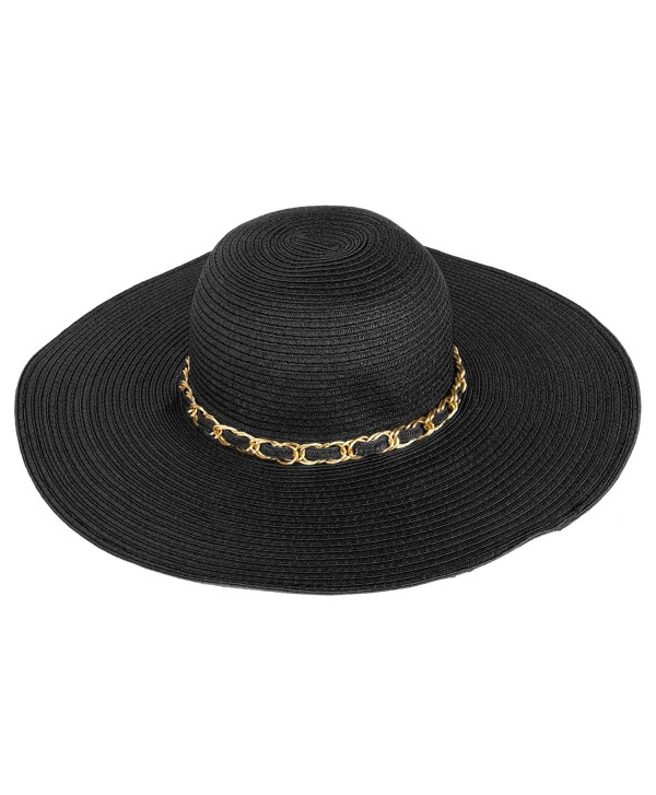 Aerusi Women's Straw Wide Brim Floppy Sun Hat Beach Garden Sun Hat w/Chain Band - Black - C312H415SXN