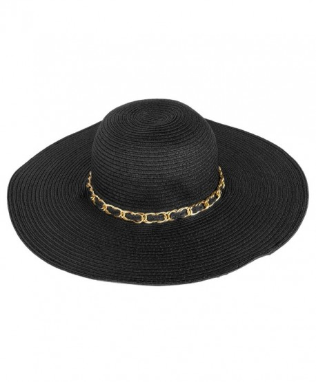 Aerusi Women s Straw Wide Brim Floppy Sun Hat Beach Garden Sun Hat w Chain  Band d8ad2df8769