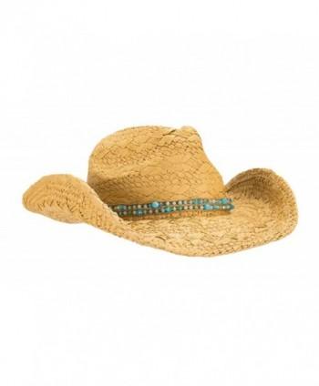 HatQuarters Cowgirl Shapeable Hatband Natural - Natural/ Teal Beads - CJ183LU8YCO