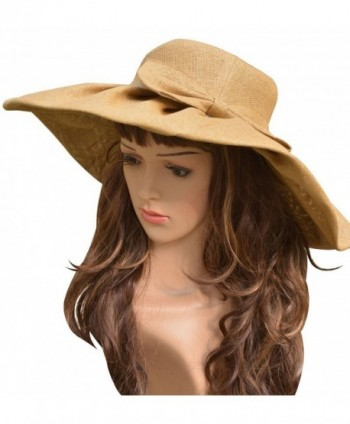 Linen Summer Womens Wide Brim Sun Hat Wedding Church Sea Beach Cap - Khaki - CQ121NBY403