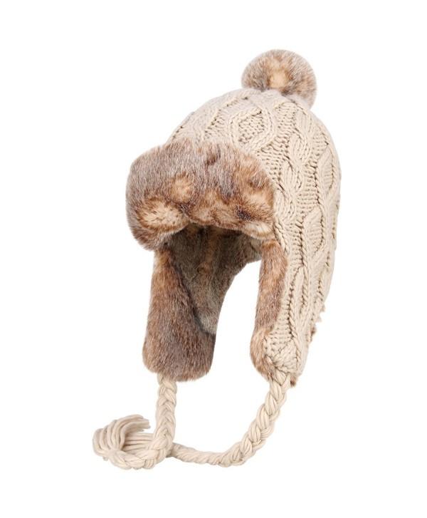 OMECHY Womens Knit Peruvian Beanie Hat Winter Warm Wool Crochet Tassel Peru Ski Hat Cap With Earflap Pom - Beige - C0188RA2LTK
