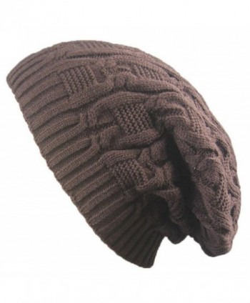 Vocni Womens Warm Caps Winter Stretch Chunky Cable Knit Outdoors Skullies Beanies Slouchy Hats - Coffe - CO188R04AR9