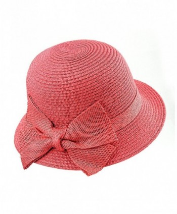 NYFASHION101 Spring Summer Side Flip Cloche Bucket Hat w/ Woven Bow Accent - Coral - CP11VJD64JP
