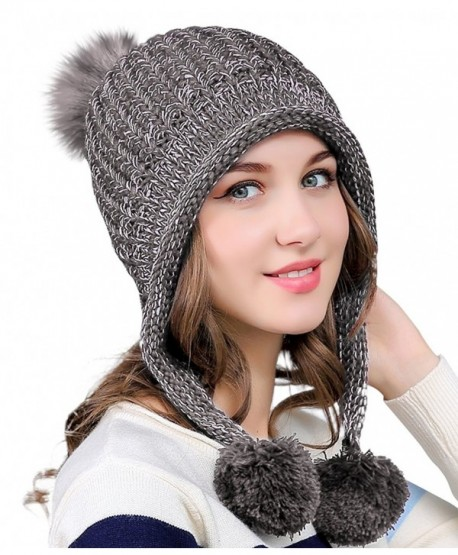 812560845f47e Urban CoCo Women s Winter Cable Knitted Pom Pom Beanie Hat Earflap Caps -  Grey - CT188E2RR02
