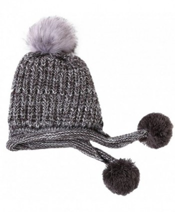 aff3405ac74 Urban CoCo Women s Winter Cable Knitted Pom Pom Beanie Hat Earflap Caps -  Grey - CT188E2RR02  Urban CoCo Womens Knitted Earflap ...