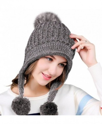 81b5fc0a47b Urban CoCo Women s Winter Cable Knitted Pom Pom Beanie Hat Earflap Caps -  Grey - CT188E2RR02  Urban CoCo Womens Knitted Earflap  Urban CoCo Womens  Knitted ...
