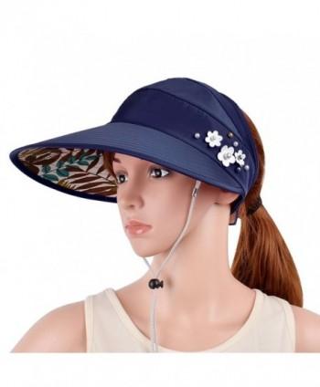 VBIGER Womens Visor Hat UPF 50+ Sun Protective Sun Hat Large Brim Summer Beach Hat - Navy Blue - CG17Z67MNA6
