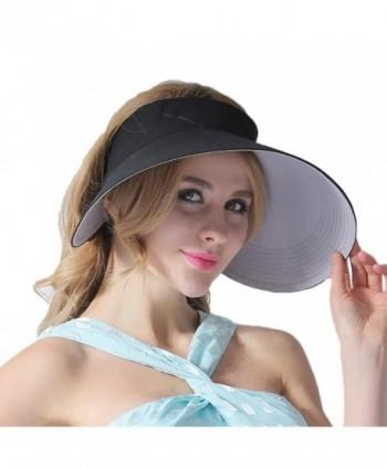 CACUSS Women's Summer Sun Hat Large Brim Visor Adjustable Velcro Packable UPF 50+ - Black - CH17YDMD5XM