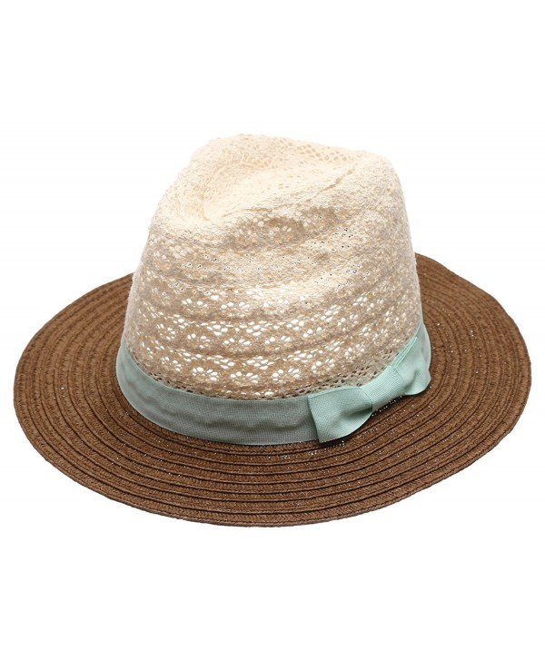 Women's Summer Crochet Floppy Mid Brim Panama Style Sun Beach Hat With Bow Band. - Mint - C817YDE98OC