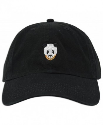 Panda Embroidered Dad Hat Baseball Cap Polo Style Adjustable - Black - CB12O9YYZ6A