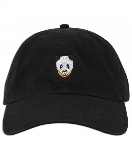 Panda Embroidered Dad Hat Baseball Cap Polo Style Adjustable - Black - CB12O9YYZ6A