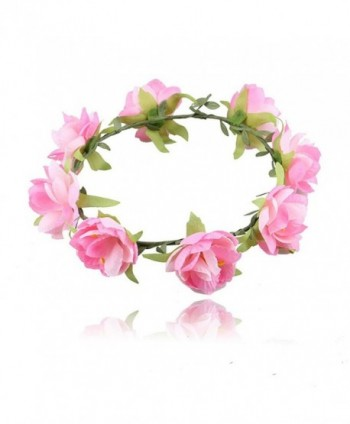 beauty YFJH Headband Beach Hair Wreath Floral Flower Crown Garland Festival Wedding - Pink - C9184CKGUTR