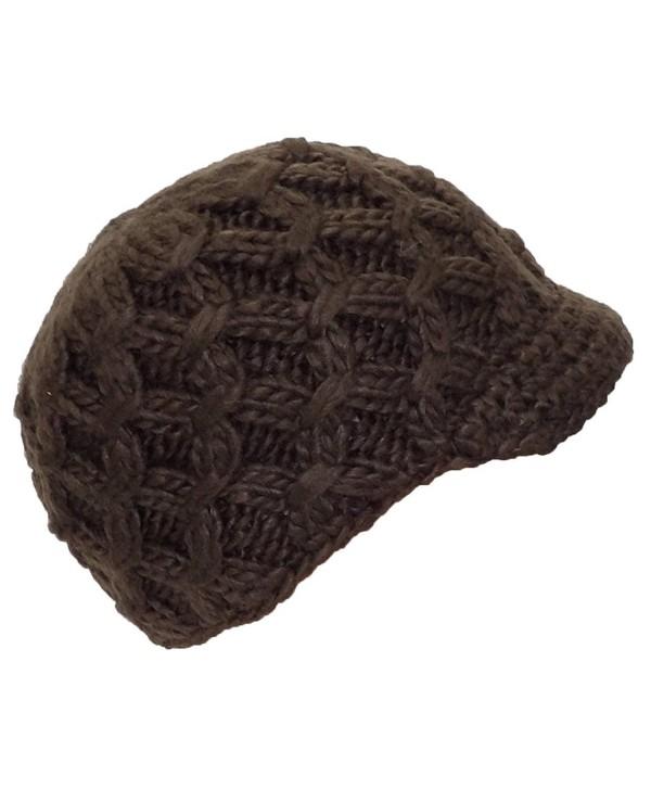 Angela & Williams Womens Knit Winter Skull Cap W/Crochet Visor (One Size) - Brown - CQ11Q2M48JB