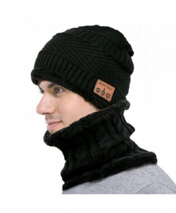F&U Wireless Bluetooth Beanie Scarf SET Fleece Lined Thick Knit for Women &Man - Black - CS1887DTN88