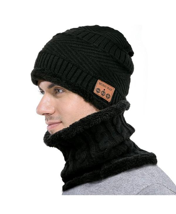 F&U Wireless Bluetooth Beanie Scarf SET Fleece Lined Thick Knit for Women &Man - Black - CS1887DTN88