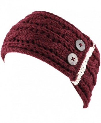 The Hat Depot Womens Cable Knit Hand Made Headband With Button Detail - Burgundy - CO186ROKUDY