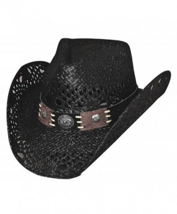 "Bullhide ""Pure Country"" Toyo Straw w/ Leather Hatband and Conchos - Black - CF11CKPU4BF"