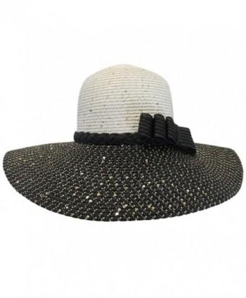 Luxury Divas Two-Tone Shimmery Sun Hat - Black & White - CU11K56BUIH