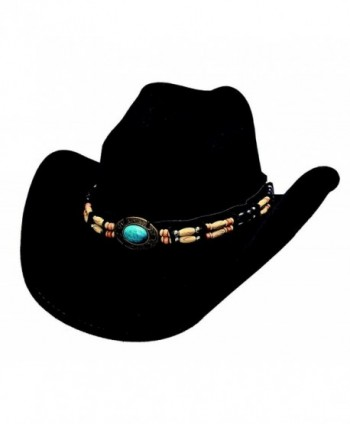 """Bullhide """"Fortune"""" Felt Western Hat with Turquoise and Barrel Beads - C0116PAYE9N"""