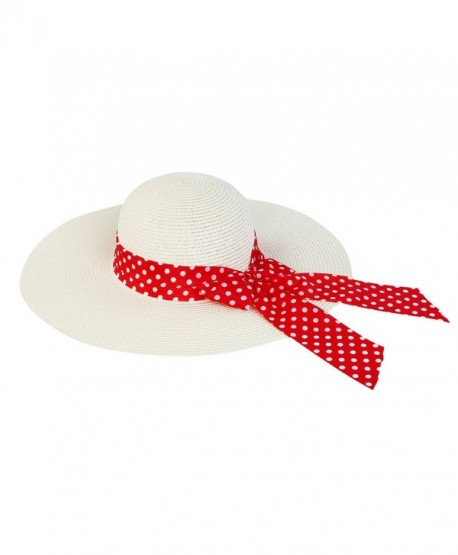909b75f8f Princess Polka Dot Bow Natural Floppy Wide Brim Straw Beach Sun Hat ...