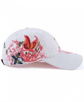 Sunsen Women Flowers Adjustable Baseball Cap Butterfly Embroidered Golf Hat - CD1261AHFQ5