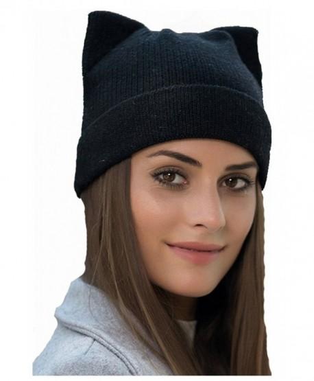 34d7f4f35a2dc wanture Women s Hat Cat Ear Crochet Braided Knit Caps - Black - CJ186XUDNQK
