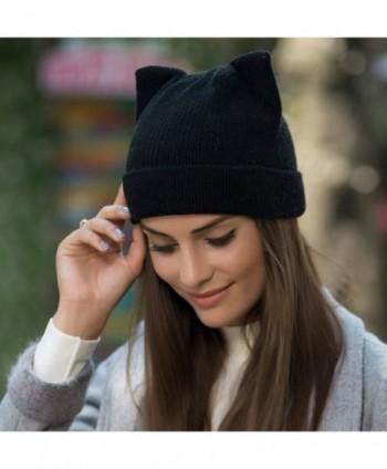 wanture Women s Hat Cat Ear Crochet Braided Knit Caps - Black -  CJ186XUDNQK  wanture Womens Crochet Braided Black d4ff202551fe