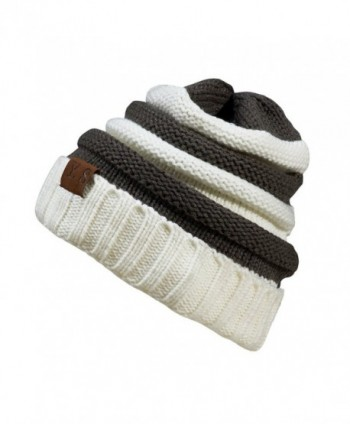 VANGAY Slouchy Cable Beanie Hat Soft Warm Oversized Chunky Knit Thick Cap Men & Women - White/Dark Gray - CB186XD4NIK