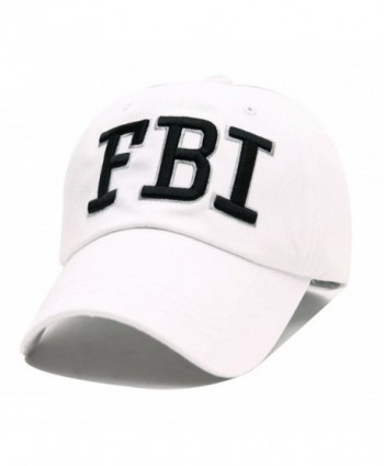 FBI Hats GEANBAYE 100% Cotton and Police Agent Hats For Men and Women - White - CK184MQCUK8