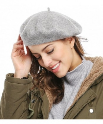 Bellady Women Solid Color French Wool Beret - Light Grey - CK11SWYX6SL