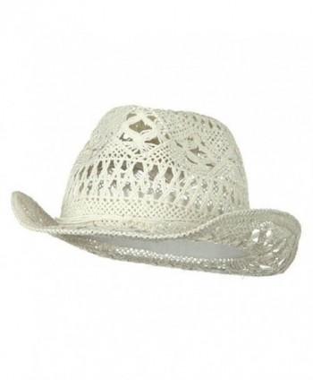 Ladies Toyo Fedora Hat - White - C9114YSQ3DT