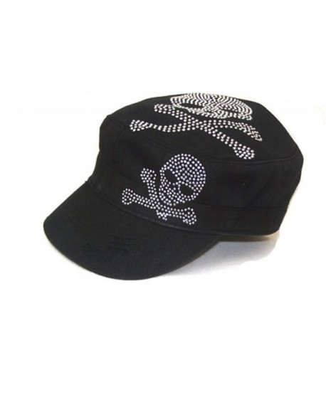 Huge Bone Skull Skeleton Stud Military Castro Hat Cap - C5113FCOFCL