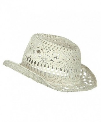 c1e32362 Ladies Toyo Fedora Hat - White - C9114YSQ3DT