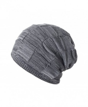 Yidarton Slouchy Beanie Hat Winter Warm Knit Thick Skull Cap - Gray - CN12MZW51RU
