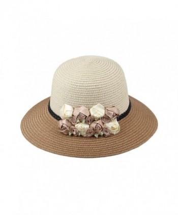 Dantiya Womens Girl's Straw Cap Beach Sun Hats With Flowers - Khaki - CI12MXUSF2V