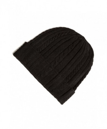 Fishers Finery Women's 100% Pure Cashmere Cable Knit Hat Super Soft Cuffed - Black - C811H5DTKF3
