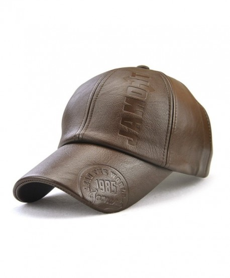 Melii Men Vintage Adjustable Leather Baseball Cap Plain Sports Outdoor Windproof Warm Hat - Light Coffee - CS187LSS86Z