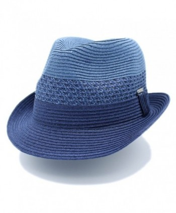 "The Hatter 1 3/4"" Wide Brim Panama Roll Up Two Tone Fedora Sun Hat Beach Cap With Band - A-navy - CW180MZ5G0D"