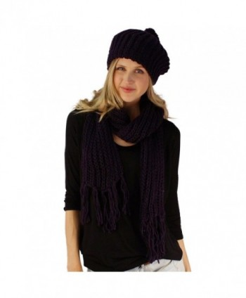 Handknit 2pc Winter Ribbed Knit Ski Beret Pom Pom Beanie Hat w Scarf Set - Purple - C811FXOGCDT