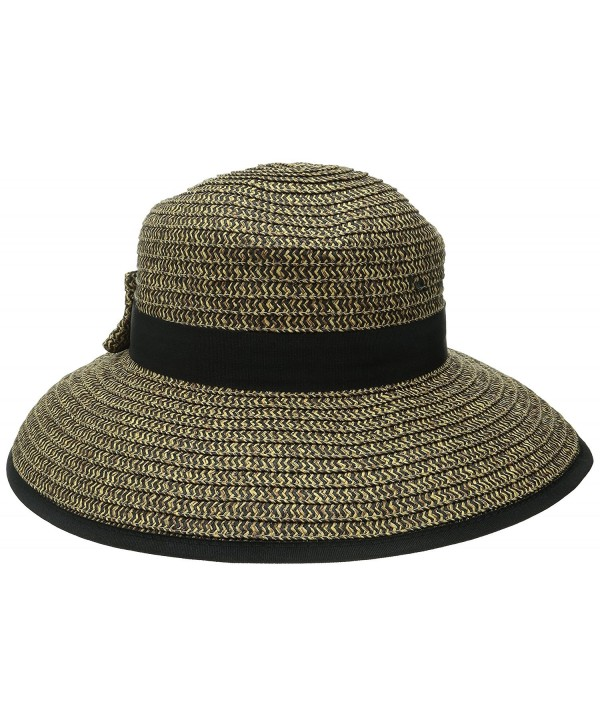 San Diego Hat Company Women's Sun Brim Bow At Back and Contrast Edging - Mixed Black - CP11S3UNWFB