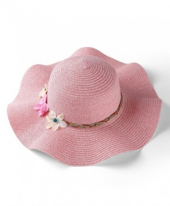 Aerusi Women's Wavy Brim Straw Woven Flower Band Summer Beach Floppy Sun Hat - Pink - C8182XX95M5