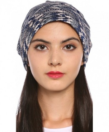 Ababalaya Women's Soft Breathable Silk Floral Print Turban Chemo Beanie Nightcap - Gray - CU182WUG5IG