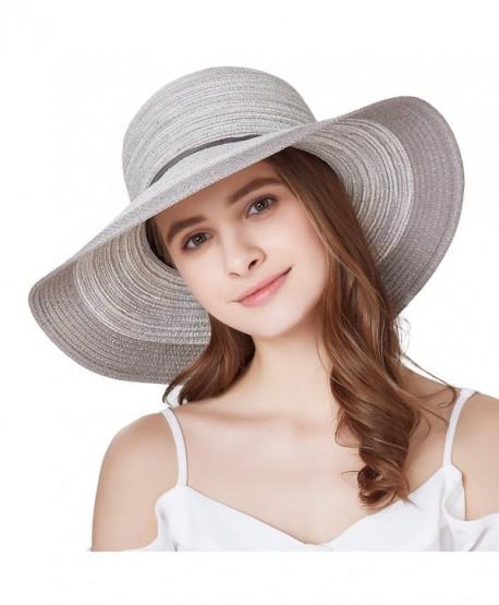 66a3829a52566 SOMALER Women Floppy Sun Hat Summer Wide Brim Beach Cap Foldable Cotton Straw  Hat - Light