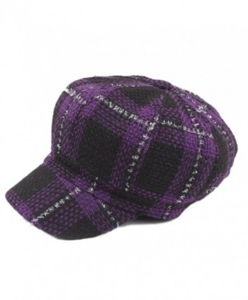 ZLSLZ Womens Knitting Plaid IVY newsboy Cabbie Gatsby Paperboy Painter Hats Caps - Purple - CG1867ERLY8