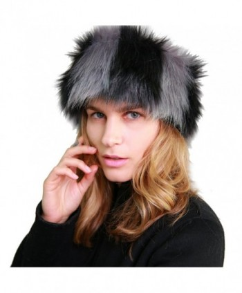 MissShorthair Faux Fur Headband-Neck Warmer for Winter Earwarmer Earmuff Hat Ski - Black and Grey - C2186AMO298