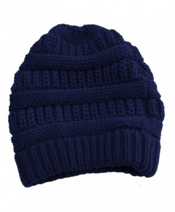 Cable Knit Slouchy Beanie Skull Cap - Navy - CY1250C5MS9