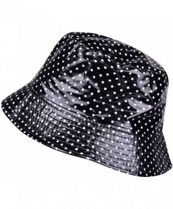 ORSKY Packable Waterproof Bucket Hat Polka Dot Wide Brim Rain Hats For Women Girls - Black - CR1884LLSI8