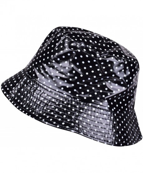 38c8c317 ORSKY Packable Waterproof Bucket Hat Polka Dot Wide Brim Rain Hats For Women  Girls - Black
