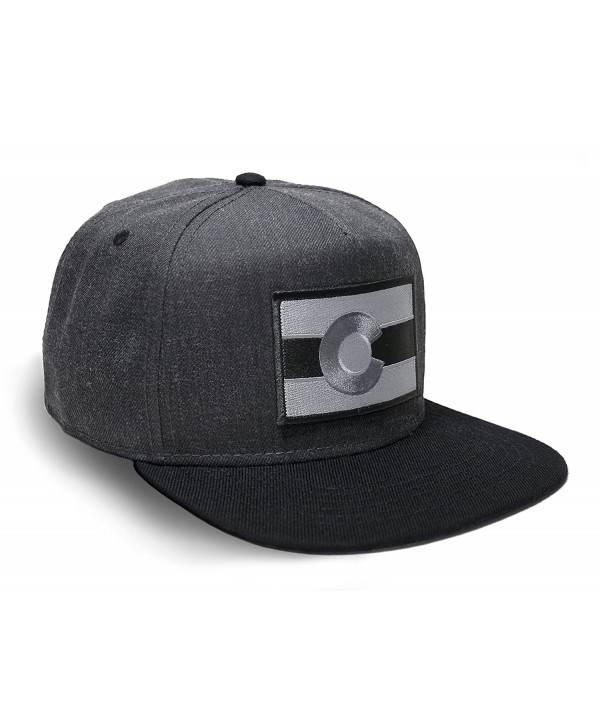 Strange Cargo Tees Colorado Flag Hat Baseball Cap Flat brim Black Grey - CU12MA53U0G