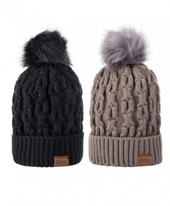 Winter Beanie Fleece Slouchy womens - Two Pack of Black and Dark Gray - CM187AQAG76